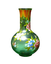 Chinese Light Green Color Graphic Peking Glass Vase vs713 - $780.00