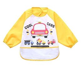 Cute Cartoon Waterproof Sleeved Bib Baby Smock Baby Bibs Yellow, 0-3 Years