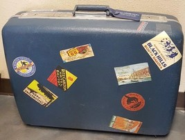 Vintage Blue Samsonite Luggage Suitcase Travel Sticker USA Paris Peking ... - $128.68