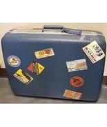 Vintage Blue Samsonite Luggage Suitcase Travel Sticker USA Paris Peking ... - $128.68