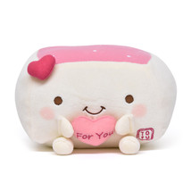 Tofu Cushion Hannari Heart Ivory Stuffed Toy Size M Japan Gift Cute Goods - $57.94 CAD