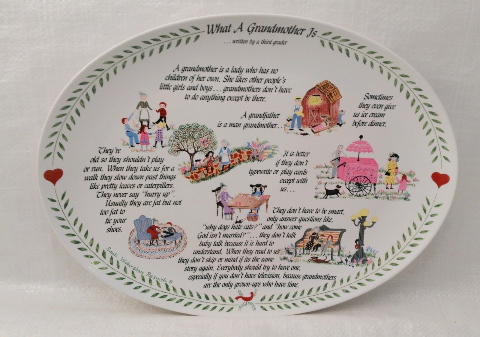 """What A Grandmother Is"" Original Red Plate Co. Decorative Platter 1983"