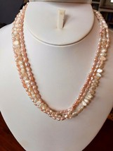 "Pink & White Seed Pearl Baroque Necklace 17.5"" Freshwater 14k Gold filled Strand - $24.70"