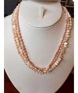 """Pink & White Seed Pearl Baroque Necklace 17.5"""" Freshwater 14k Gold fille... - $24.70"""