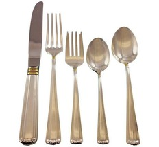 Embassy Scroll Gold by Lunt Sterling Silver Flatware Set Service 60 pcs Dinner - $6,500.00