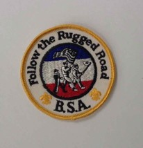 """Vtg FOLLOW THE RUGGED ROAD Boy Scouts of America BSA Patch/Badge RARE 3""""... - $7.70"""