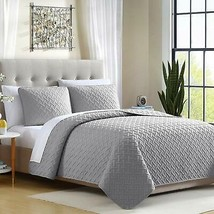 Ellison Ardmore Solid Lattice Quilt Set (3 Piece), Full/Queen, Gray - $128.61