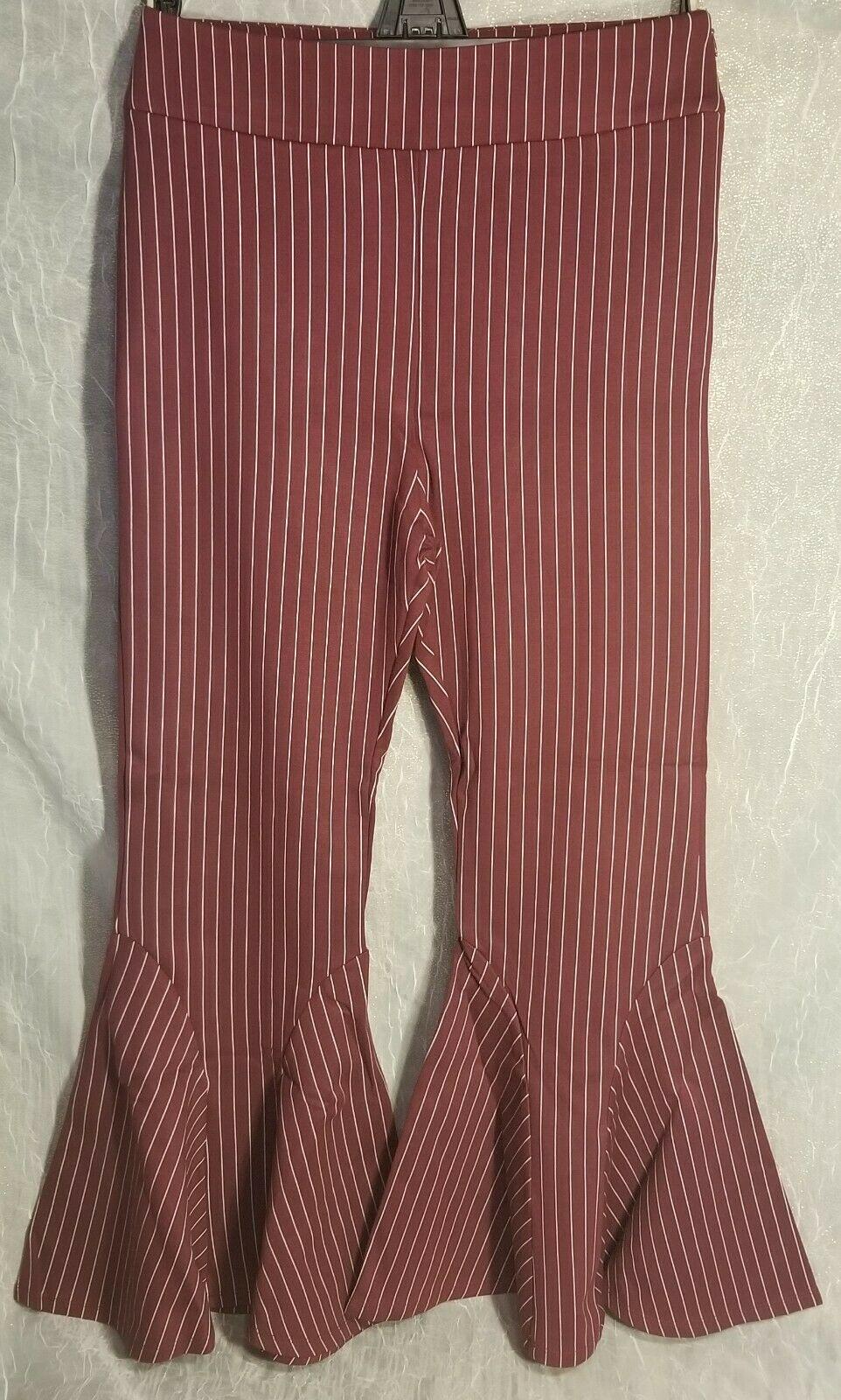 New free people Mari Ponte Pants 6625 Winterberry Striped Size 10 Stretch
