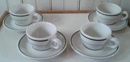 Buffalo China Green Stripe: Set of Four (4) Cups with Saucers - $47.50