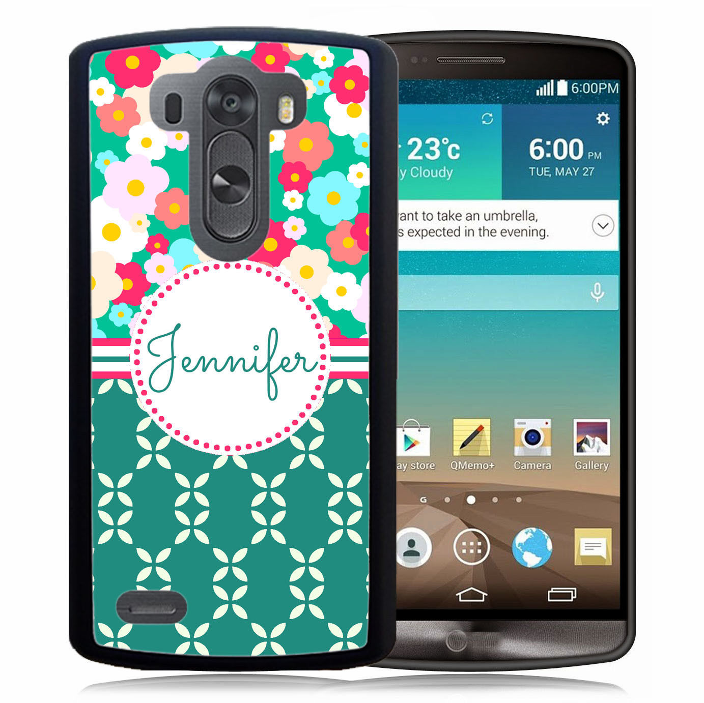 PERSONALIZED RUBBER CASE FOR LG G6 G5 G4 G3 TEAL HOT PINK DAISIES FLOWERS