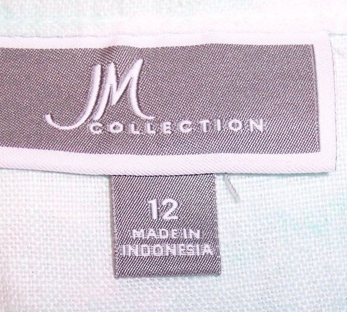 JM Collection Shirt 12 Artsy Linen Roll Tab Sleeve Button Up Womens Shirt Blouse
