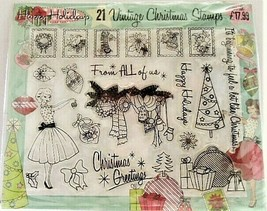 Vintage Christmas Stamps, 21 Stamps, Happy Holidays