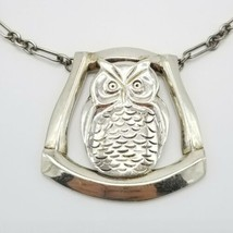Henry Petzal Sterling Silver Handwrought Owl Pendant Necklace Vintage 12... - $890.99