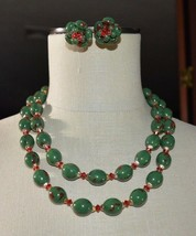 VTG HONG KONG Gold Tone Christmas Green Red Speckled Celluloid Necklace ... - $45.54