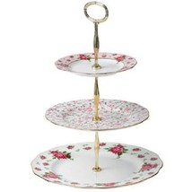 Royal Albert New Country Roses Vintage Formal 3-Tier Cake Stand NEW - $93.49