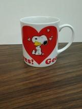 Peanuts Charlie Brown Snoopy Valentine Coffee Mug Woodstock Gee, Somebod... - $24.31