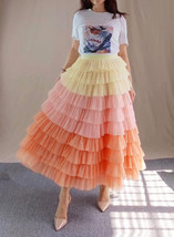 Yellow Pink Layered Tulle Skirt Tiered Tulle Party Outfit Plus Size Party Skirt  image 4