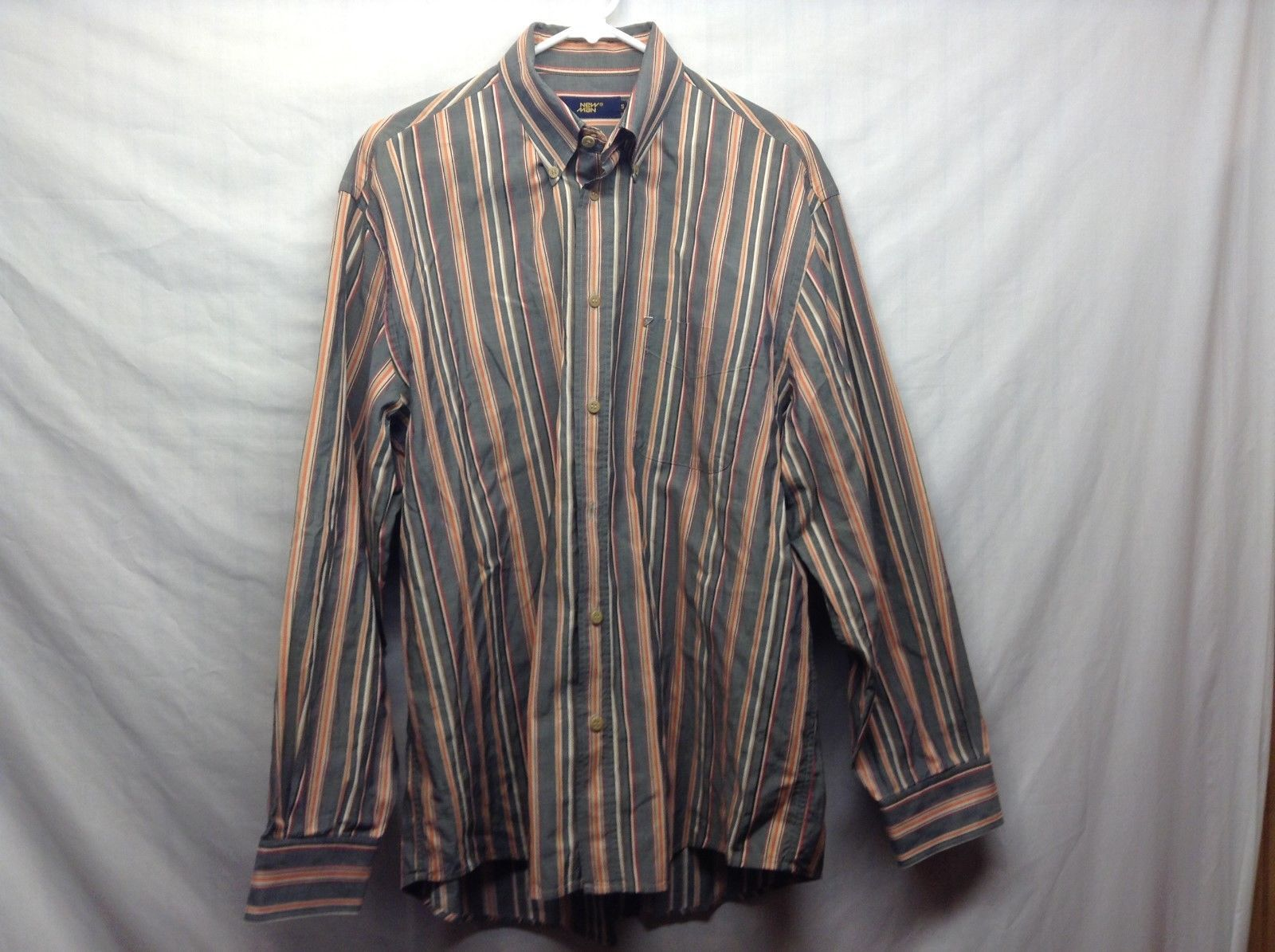 Men's Vertically Lined Multicolor Collared Shirt by New Man