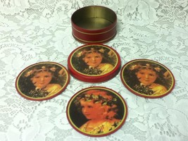 Vintage, 5-pc  Doll Portrait Tin Coaster Set in Tin Box,  3.5in D - $7.55