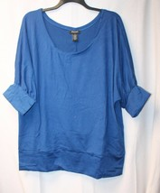 CUTE NEW WOMENS PLUS SIZE 4X BRITE BLUE SOFT SLOUCHY SHIRT TOP W DOLMAN ... - $14.80
