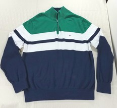 Tommy Hilfiger 90s Style Colorblock 1/4 Zip Pullover Sweater Mens XL Blu... - $35.95