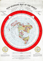 "Flat Earth Map 1892 Alexander Gleason 16""x23"" New Standard Map of the World 1892 - $15.95"