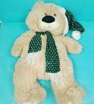 Green Scarf Hat Christmas Teddy Bear Shiny Plush Stuffed Animal Brown La... - $24.74
