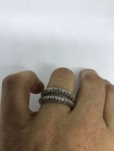 Vintage Pair Dec 925 Sterling Silver Size 7 Band Rings - $64.35