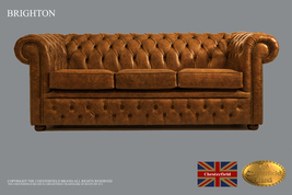 Original Chesterfield Brand Vintage Mustard Sofa,3 seats ,Real leather ,... - $5,501.00