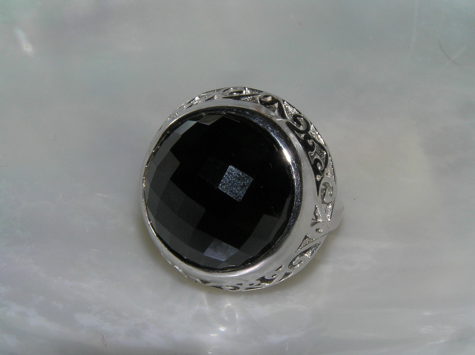 Estate 925 Sterling Silver Signed Large Faceted Black Glass Cab in Open Scroll