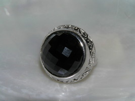 Estate 925 Sterling Silver Signed Large Faceted Black Glass Cab in Open Scroll image 1