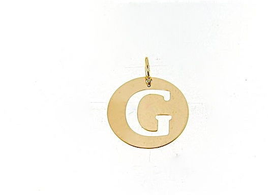 18K YELLOW GOLD LUSTER ROUND MEDAL WITH LETTER G MADE IN ITALY DIAMETER 0.5 IN