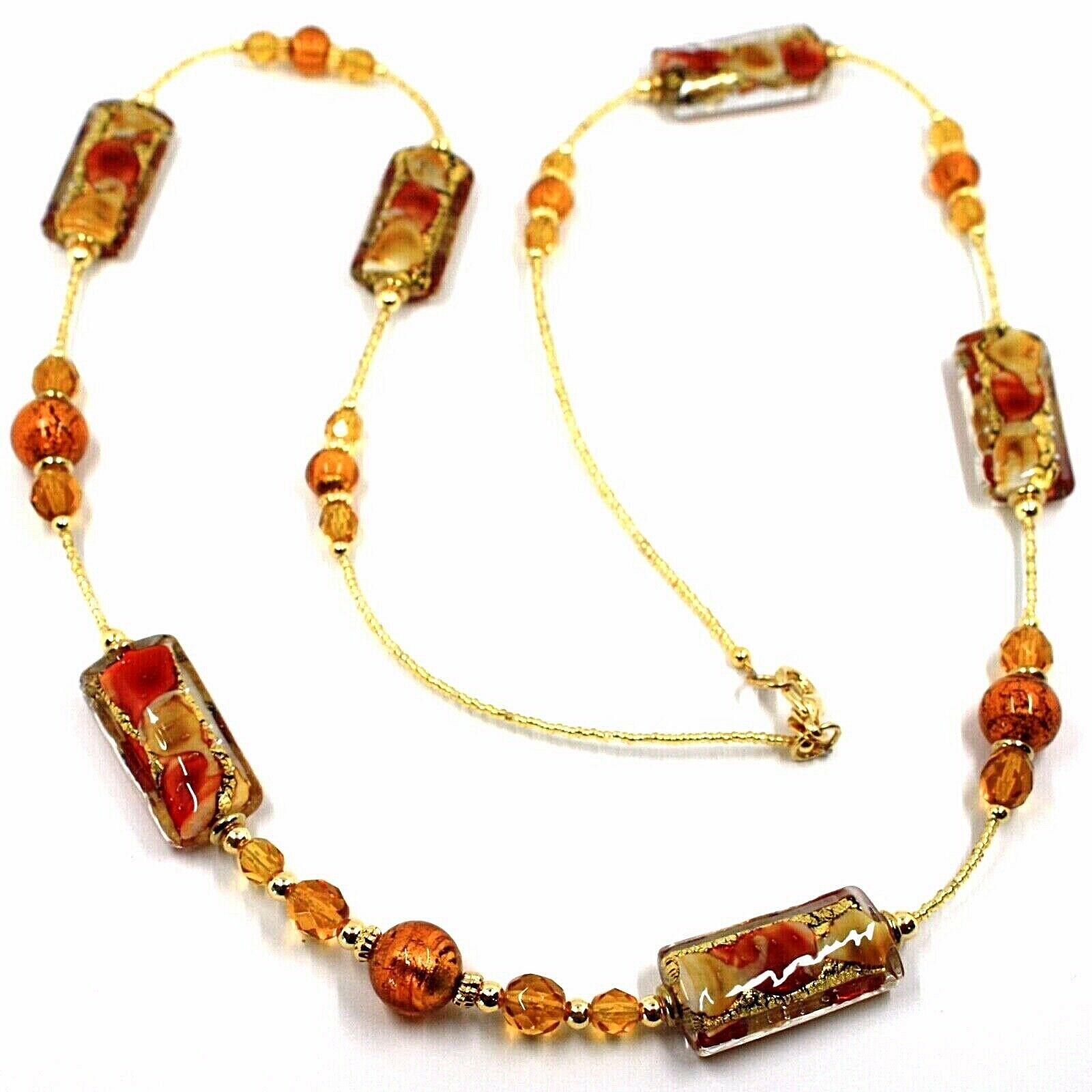 LONG NECKLACE AMBER MURANO GLASS RECTANGLE TUBE, SPHERE, GOLD LEAF, ITALY MADE