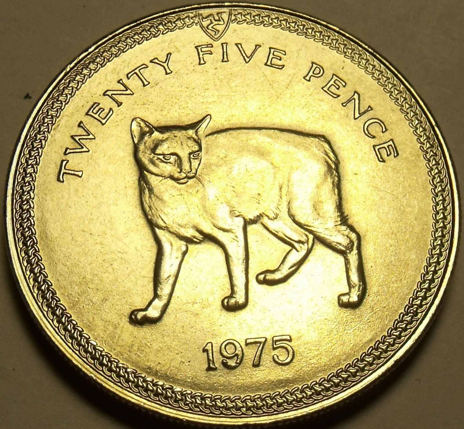 Gem Unc Isle Of Man 1975 25 Pence~Manx Cat~Rare 35,000 Minted~Free Shipping - $21.26
