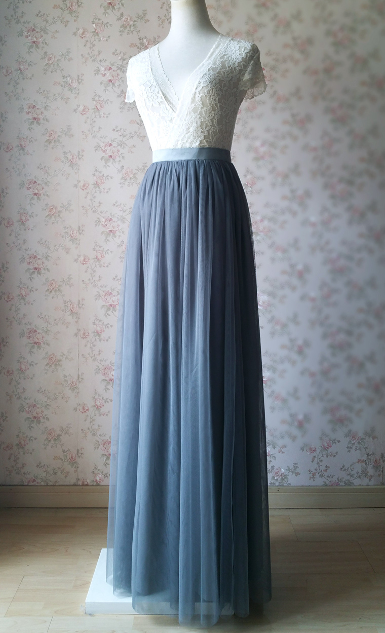 Dark gray wedding maxi tulle skirt 2