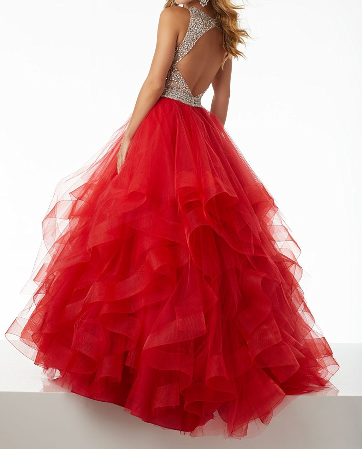 Sexy Beaded Prom Dresses Long Asymmetric Layered Tulle Formal Prom Ball Gowns