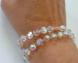 """Vintage Marvella 2 Strand Aurora Borealis Crystal bead Bracelet 7.5"""" - $19.79"""