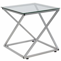 Flash Furniture Park Avenue Collection Glass End Table with Contemporary... - $73.77