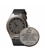 Engraved Personalized Mens Wooden Watch Lightweight Black Leather Strap ... - $40.73