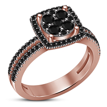 Round Cut Sim Diamond 14k Rose Gold Plated 925 Silver Her Engagement Fan... - $69.99