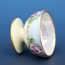 Vintage Open Salt Dip Cellar Footed Porcelain Hand Painted Roses image 2