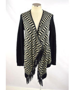 RD STYLE Black & Off White Stripe Checker Faux Leather Fringe Cardigan S... - $43.34 CAD