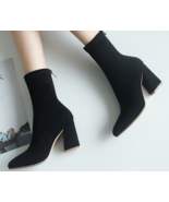 9AB9b155 Trending Martin Booties, thick & high heels, size 4-10, black - $68.80
