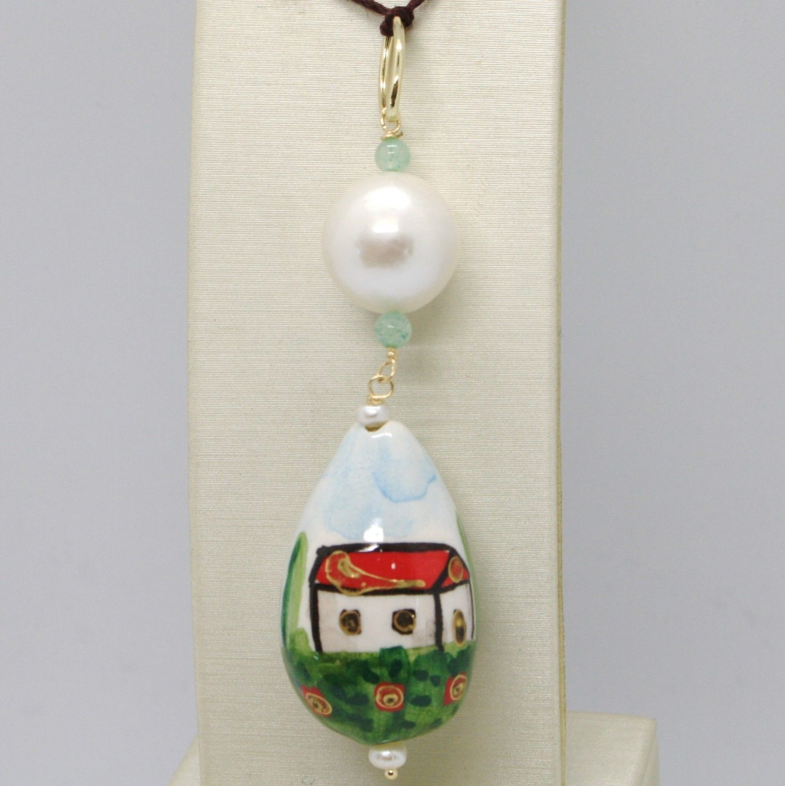 18K YELLOW GOLD PENDANT AVENTURINE & CERAMIC HOME HOUSE HAND PAINTED IN ITALY