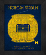 "Michigan Wolverines  ""Retro"" Stadium Seating Chart 13x16 Framed Print  - $39.95"