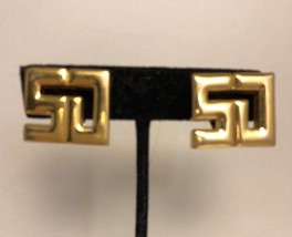 Vintage St John Logo Clip Earrings Gold Plated Rare Designer - $38.63
