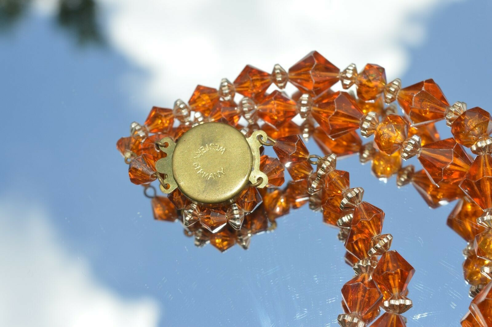 Vintage West Germany  Amber Lucite  Bead 2 Strand Necklace 22''inches long NICE