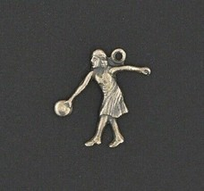 Vintage AMF Bowling Woman Lady Girl in Skirt Sterling Silver Charm Flat Back 925 - $9.86
