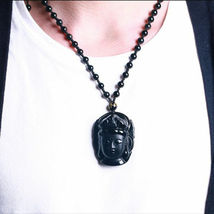 Lucky Buddha Pendant Natural Obsidian Black Carved Necklace - 1 x RANDOM image 4