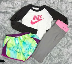 NIKE T-SHIRT + TEMPO RUNNING SHORTS + CAPRI LEGGINGS OUTFIT LOT GIRL'S SIZE S image 1